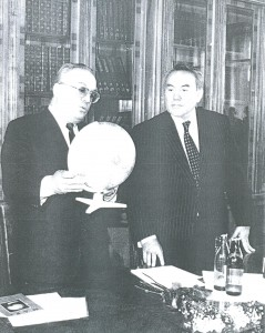 Rector of Moscow State University Viktor Sadovnichiy (left) welcomes President Nursultan Nazarbayev to the university for the March 1994 speech that became famous because of the introduction of an idea of a Eurasian Union.