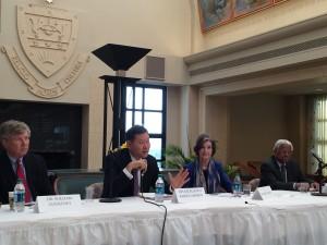 From led to right former U.S.Ambassador to Kazakhstan William Courtney, Ambassador of Kazakhstan to the U.S. Kairat Umarov, founder of the Atlanta Communications Group Nancy Neill, and Professor of St.John's University Jay Nathan.