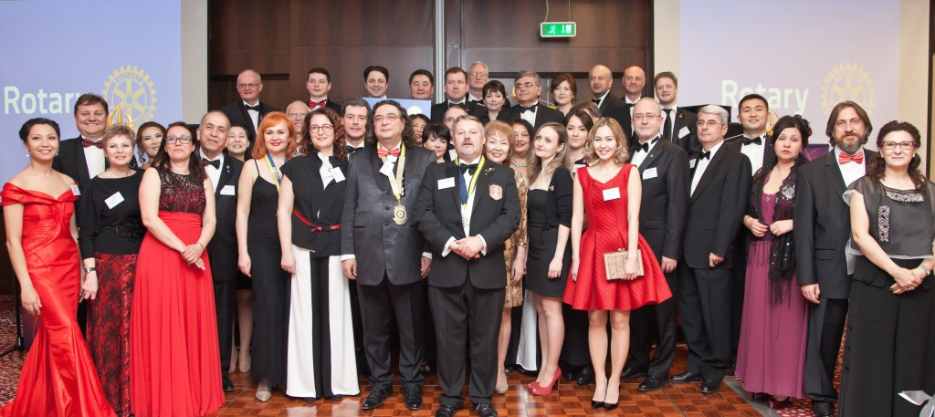Governor of Rotary International District 2430 Korhan Atilla and President of the Astana Rotary Club Gareth Stamp with attendees at Astana club's official launch.