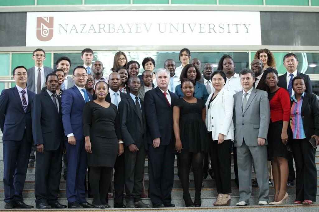 Participants and organisers of the medical seminar pose in front of Nazarbayev University. Photo: National Laboratory Astana, Nazarbayev University.