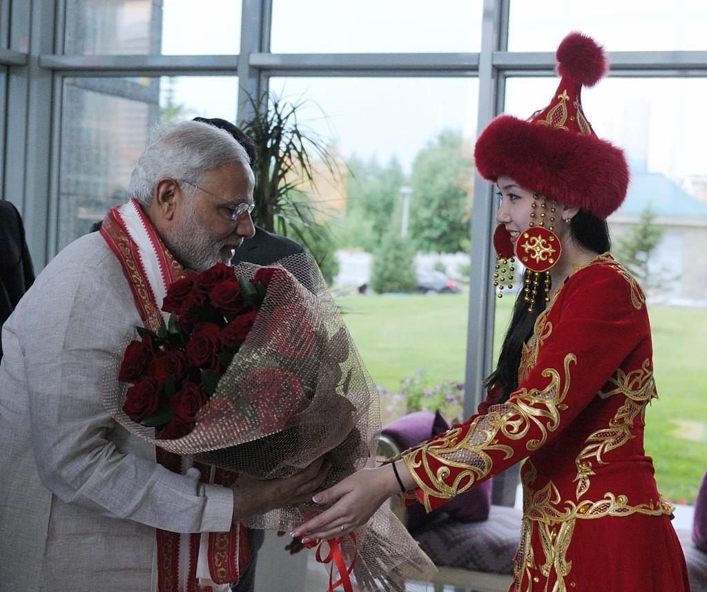 Prime Minister of India Narendra Modi arrives in Astana on July 7.