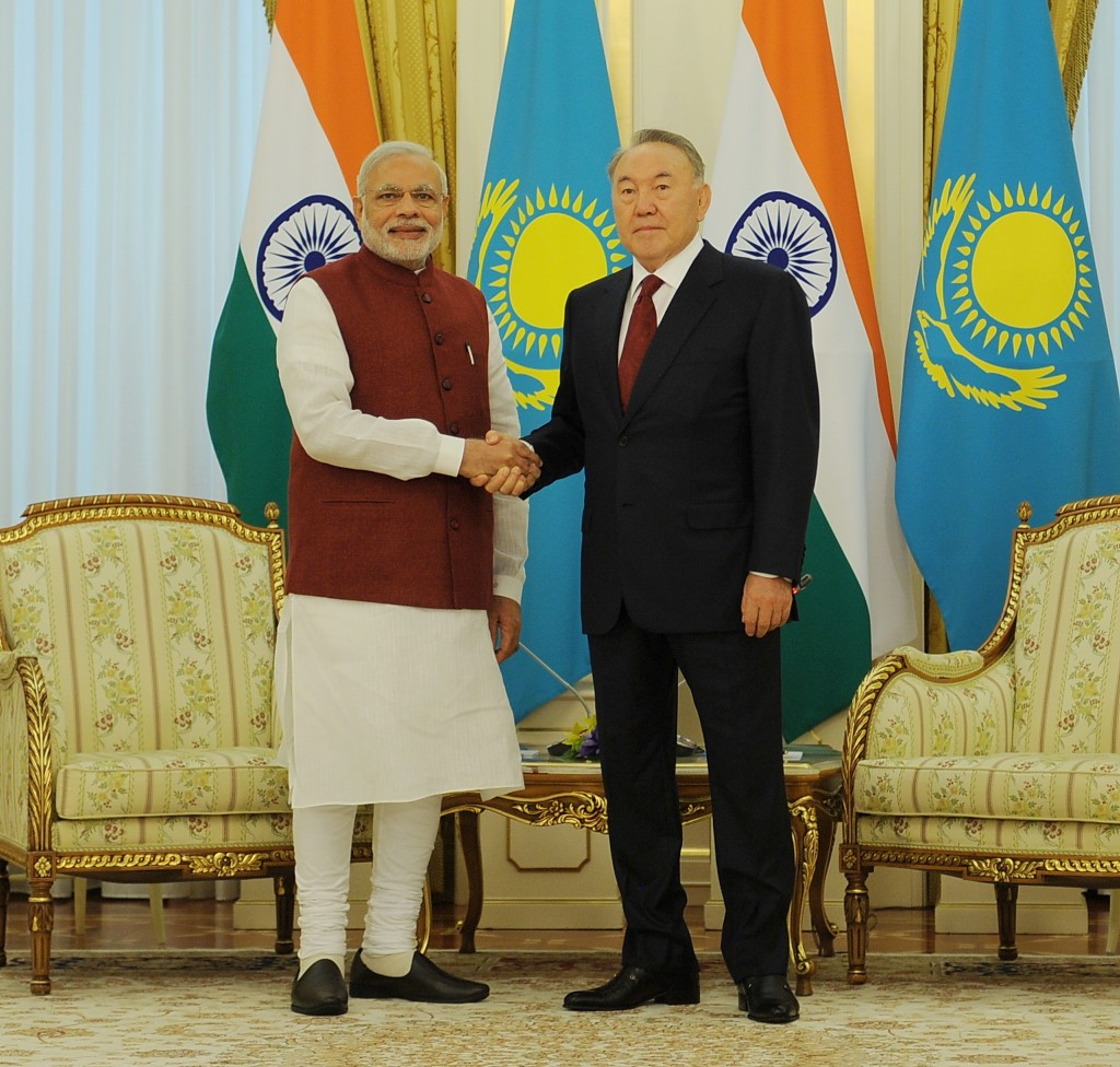 Prime Minister of India Narendra Modi meets President of Kazakhstan Nursultan Nazarbayev on July 8 in Astana.