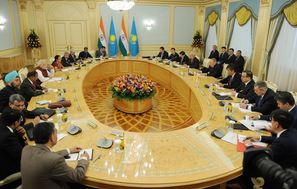 Prime Minister of India Narendra Modi attends the Kazakh-Indian business forum in Astana.